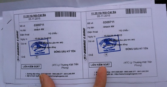 bus ticket from Hanoi to Cat Ba